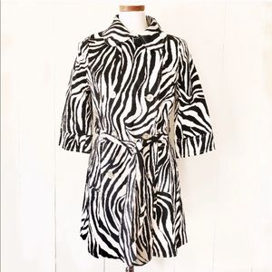 Zebra Print Belted Trench Coat